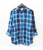 バックナンバー BACK NUMBER フレンチリネン チェック 7分袖 シャツ カットソー トップス ブルー BN-3613151 サイズM 〇5