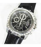 セイコー SEIKO クロノグラフ クォーツ 腕時計 クロコ型押し ベルト 黒 ブラック 7T62-0GY0