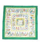 エルメス HERMES カレ 90 スカーフ COSTUMES CIVILS ACTUELS 現代市民の服装 グリーン系