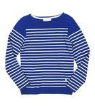 ブルーワーク BLUE WORK ボーダー柄 ニット セーター ボートネック 長袖 ウール サイズ1 ブルー ◎B4