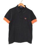 フレッドペリー FRED PERRY ポロシャツ 半袖 胸ロゴ刺繍 Cotton Pique 黒×オレンジ 91CM 36 0328