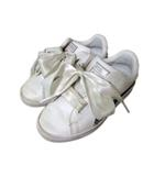 プーマ PUMA BASKET キッズ シューズ スニーカー リボン 18cm 白 スパンコール装飾 190424