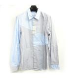 ランバンオンブルー LANVIN en Bleu カッター シャツ ドレス 切替 長袖 チェック ブルー 青 50 0420