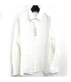 ランバンオンブルー LANVIN en Bleu カッター シャツ カジュアル 地模様 ジャガード 長袖 無地 ホワイト 白 50 0420