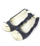 シャネル CHANEL パンプス ローヒール ココ バレエ シューズ 靴 バイカラー リボン ネイビー アイボリー 紺 白 37 1/2 0417