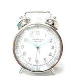 ティファニー TIFFANY & CO. ツイン ベル アラーム クロック 置時計 CT60 ニッケル仕上げ クォーツ 電池式 時計 箱付き 付属あり 稼働 0513