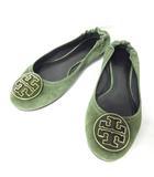 トリーバーチ TORY BURCH バレエ シューズ フラットシューズ ロゴモチーフ スエード 靴 緑 グリーン 6 1/2 23cm 0914