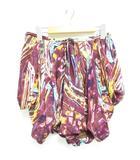 キャサリン・マランドリーノ CATHERINE MALANDRINO キュロット ミニ スカート シルク 変形 プリント ショートパンツ パープル系 2 1110