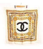 シャネル CHANEL スカーフ チェーン ブレスレット プリント 90cm ココ ヴィンテージ シルク ホワイト 白系 0603