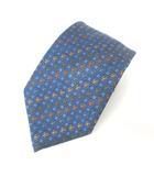 ロエベ LOEWE ネクタイ MUNDO LOEWE シルク 総柄 アナグラム チェック 紋章柄 ブルー 青 0627 IBS60