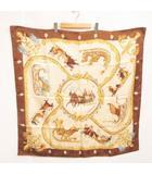 エルメス HERMES スカーフ カレ 90 plumes et grelots 羽飾りと鈴 地模様 ジャガード ブラウン 茶系 0725