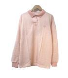 クロエ CHLOE GOLF ポロシャツ 長袖 ストライプ サーモンピンク ウール 11 刺繍 スポーツウェア X
