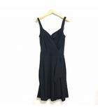 ルイヴィトン LOUIS VUITTON 国内正規 シルク ノースリーブ ワンピース ドレス カシュクール 黒 ブラック 36 0322