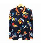 レオナールスポーツ LEONARD SPORT 長袖 ポロシャツ カットソー 花柄 フラワープリント 紺 ネイビー M ECR3 0328