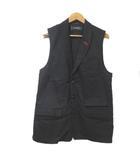 ミルクボーイ MILKBOY ベスト ジレ 前開き ショールカラー 黒 ブラック サイドジップ コットン 胸ポケット X
