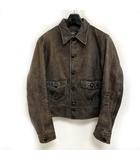 ダブルアールエル RRL 希少 Mitchell レザー ジャケット カウハイド Leather Jacket 革ジャン ヴィンテージ加工 茶 ブラウン S 0502