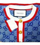 グッチ GUCCI GG PRINT CARDIGAN 574162 美品 GGニット ストライプ トリム カーディガン ニット 金釦 総柄 羽織り ブルー XS 0731 ECR7