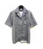 エルメス HERMES 開襟 シャツ オープンカラーシャツ ラッパモチーフボタン ワンポイント 灰 グレー 40 ECR8 0815