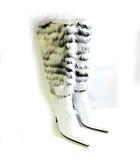 ブルーノマリ BRUNO MAGLI ロング ブーツ ファー付き ヒール レザー ホワイト 白 37 約24cm 0912