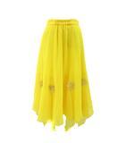 クリエイトサン Create-Sun スカート ロング ダンス チュール フレア アシンメトリー 花モチーフ 黄 イエロー L 190227T