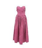 ローラアシュレイ LAURA ASHLEY ワンピース ドレス ベアトップ リボン フレア ロング ギャザー ドット柄 ピンク系 16 XL 190411S