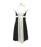 スコットクラブ SCOT CLUB ドレス ワンピース ホルターネック プルオーバー リボン バイカラー アイボリー ブラック 黒 9 M 190514T