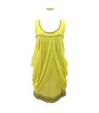 グレースクラス GRACE Class ドレス ワンピース ひざ丈 ノースリーブ ビーズ 刺繍 装飾 シルク マスタードイエロー 黄 36 S 190327T