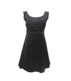 クローラ crolla ドレス ワンピース ノースリーブ プルオーバー プリーツ リボン サテン パニエ シルク混 黒 ブラック 36 S 190514T