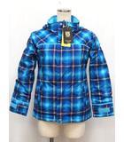 バートン BURTON 国内正規 タグ付 ジャケット GIRLS ELODIE JACKET スノーウェア 中わた チェック フード ジップアップ ポケット S ブルー レッド 青 赤 /C