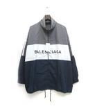 バレンシアガ BALENCIAGA 18SS ロゴプリントポプリンシャツジャケット トラックジャケット 39 グレー 灰色 /Z ☆AA★