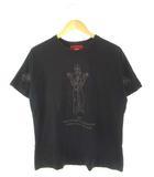 エヴィス EVISU ヤマネ YAMANE Tシャツ プリント 半袖 トップス 黒 ブラック 40
