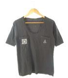 キャピタル kapital Tシャツ カットソー ポケットT 刺繍 Uネック 五分袖 トップス 墨黒 2