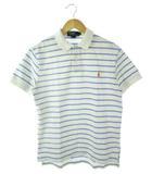 ポロ バイ ラルフローレン Polo by Ralph Lauren ポロシャツ ボーダー 刺繍ロゴ 半袖 トップス 白 水色 M