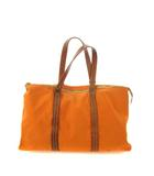 ミュウミュウ miumiu トートバッグ キャンバス レザー 鞄 オレンジ ブラウン