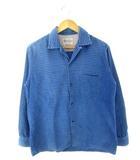 タウンクラフト TOWNCRAFT PENNEY'S 50's コーデュロイシャツ ヴィンテージ ボーダー オープンカラー 青 ブルー M