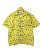 ステュディオダルチザン STUDIO D'ARTISAN アロハシャツ ドジョウすくい 豚柄 コットン オープンカラー 黄 イエロー XL