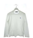 バーバリーブラックレーベル BURBERRY BLACK LABEL Tシャツ 半袖 カットソー トップス ロンT ロゴ 肩チェック 白 ホワイト 2