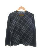 バーバリーブラックレーベル BURBERRY BLACK LABEL Tシャツ 長袖 カットソー トップス チェック 黒 ブラック 2