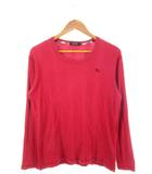 バーバリーブラックレーベル BURBERRY BLACK LABEL Tシャツ 長袖 カットソー トップス リブ ロゴ レッド 赤 2
