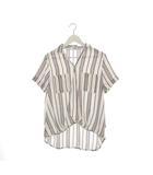 オリーブデオリーブ OLIVE des OLIVE スキッパーシャツ ブラウス ストライプ 総柄 トップス 白 ホワイト M