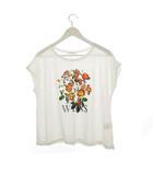 ボナジョルナータ BUONA GIORNATA Tシャツ カットソー プリント 花柄 トップス 半袖 白 ホワイト F