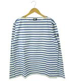 ヘリーハンセン HELLY HANSEN バスクシャツ Tシャツ ボーダー ボートネック マリン 長袖 トップス 白 水色 XL