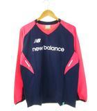 ニューバランス NEW BALANCE ピステトップ Tシャツ プリント スポーツウェア サッカー フットサル 長袖 ネイビー ピンク L