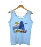 ヴィンテージ VINTAGE super shirts タンクトップ トップス プリント USA製 ライトブルー L