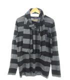 バーバリーブラックレーベル BURBERRY BLACK LABEL Tシャツ 長袖 カットソー ボーダー トップス ストール付き グレー ブラック 3