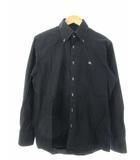 バーバリーブラックレーベル BURBERRY BLACK LABEL ボタンダウン シャツ 長袖 トップス ロゴ刺繍 黒 ブラック 2