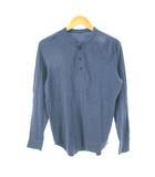 ユニクロ UNIQLO Tシャツ カットソー トップス 長袖 サーマル生地 ヘンリーネック 無地 ブルー