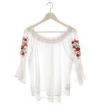 オリーブデオリーブ OLIVE des OLIVE ブラウス カットソー トップス 七分袖 バルーン袖 刺繍 花柄 白 F