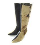 グレースコンチネンタル GRACE CONTINENTAL ロングブーツ レザー ハラコ 切り替え 靴 ブラック ベージュ 37