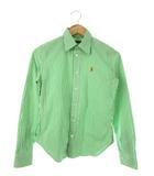 ラルフローレン RALPH LAUREN シャツ 長袖 ストライプ トップス ロゴ刺繍 グリーン ホワイト 9